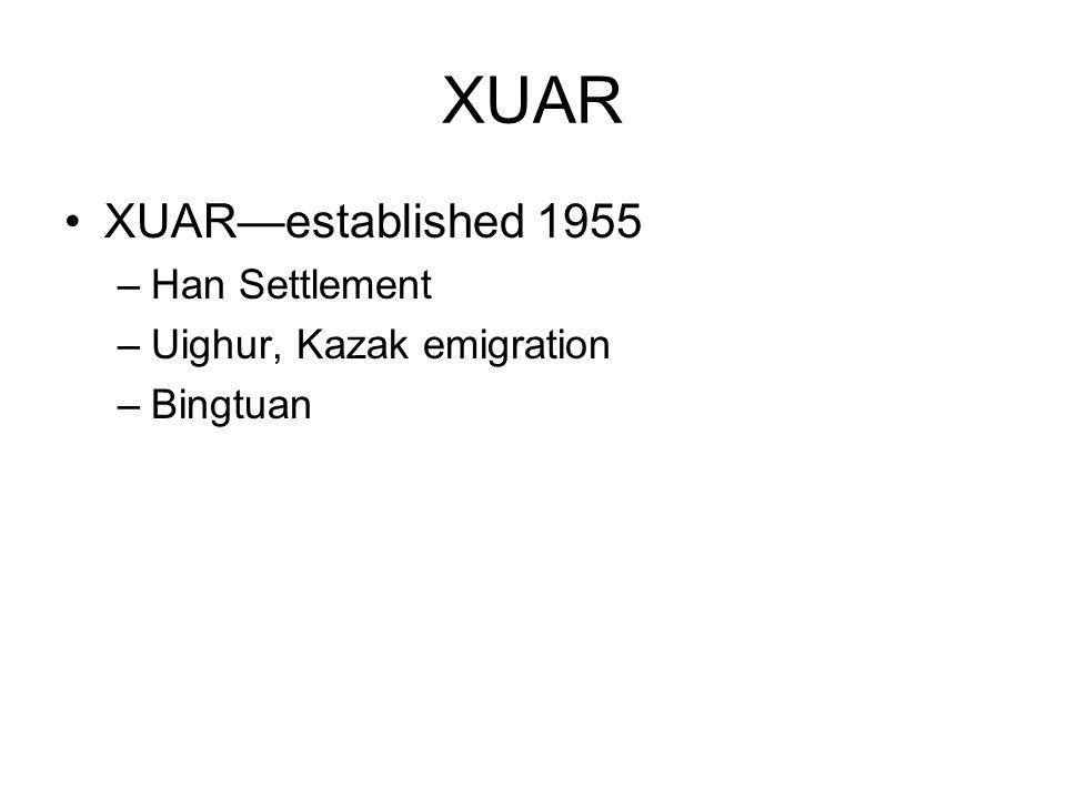 XUAR XUARestablished 1955 –Han Settlement –Uighur, Kazak emigration –Bingtuan