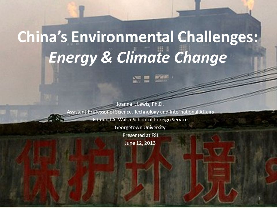 Air pollution Water pollution, water scarcity Land degradation, desertification Coal reliance increasing to meet growing energy demand Energy-intensive industries increasing Now largest emitter of greenhouse gases Current and Future Environmental Challenges 2