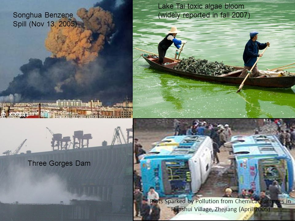 3 Lake Tai toxic algae bloom (widely reported in fall 2007) Songhua Benzene Spill (Nov 13, 2005) Riots Sparked by Pollution from Chemical Factories in Huashui Village, Zhejiang (April 2005) Three Gorges Dam