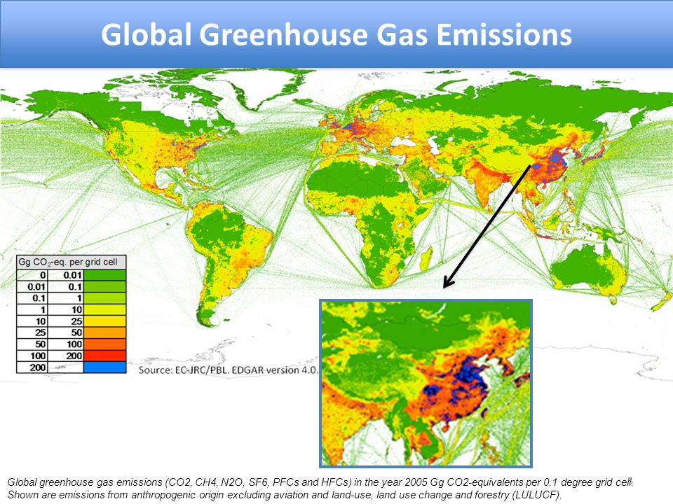 Global greenhouse gas emissions (CO2, CH4, N2O, SF6, PFCs and HFCs) in the year 2005 Gg CO2-equivalents per 0.1 degree grid cell.