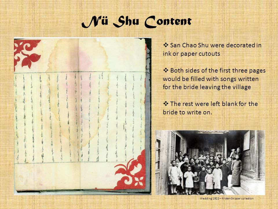 San Chao Shu were decorated in ink or paper cutouts Both sides of the first three pages would be filled with songs written for the bride leaving the v