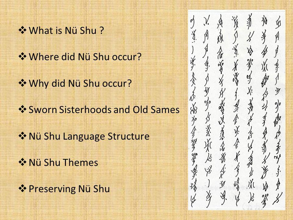 What is Nü Shu ? Where did Nü Shu occur? Why did Nü Shu occur? Sworn Sisterhoods and Old Sames Nü Shu Language Structure Nü Shu Themes Preserving Nü S