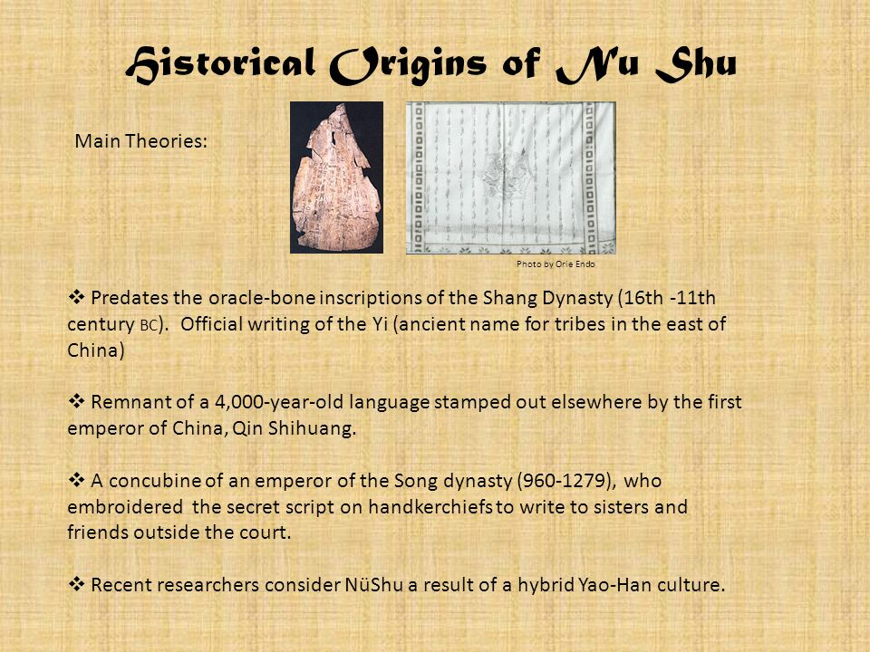 Historical Origins of Nu Shu Predates the oracle-bone inscriptions of the Shang Dynasty (16th -11th century BC ). Official writing of the Yi (ancient