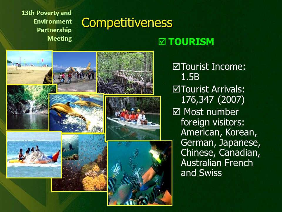Lies in the heart of central Palawan & is the capital and gateway to the Last Frontier Land Area: 253,982 hectares Center of trade and commerce, communication, education and public administration in the province Earthquake-free, FMD-free, Bird flu-free city and Located outside typhoon belt Philippines Palawan Puerto Princesa City Indonesia Malaysia Brunei Puerto Princesa City Urban Area City Profile