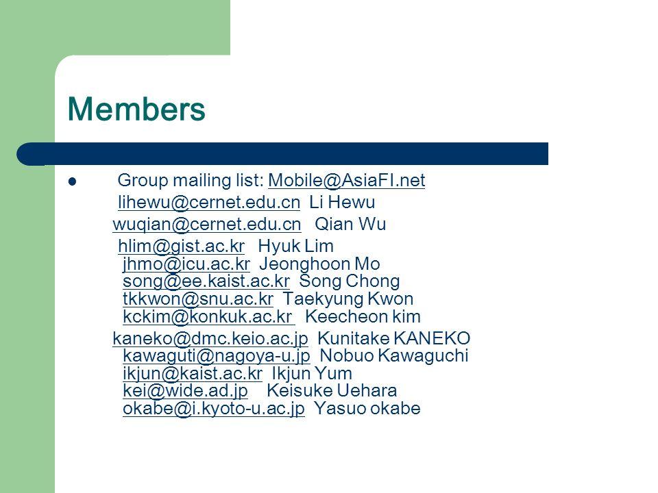 Members Group mailing list: Mobile@AsiaFI.netMobile@AsiaFI.net lihewu@cernet.edu.cn Li Hewulihewu@cernet.edu.cn wuqian@cernet.edu.cn Qian Wuwuqian@cernet.edu.cn hlim@gist.ac.kr Hyuk Lim jhmo@icu.ac.kr Jeonghoon Mo song@ee.kaist.ac.kr Song Chong tkkwon@snu.ac.kr Taekyung Kwon kckim@konkuk.ac.kr Keecheon kim hlim@gist.ac.krjhmo@icu.ac.krsong@ee.kaist.ac.krtkkwon@snu.ac.krkckim@konkuk.ac.kr kaneko@dmc.keio.ac.jp Kunitake KANEKO kawaguti@nagoya-u.jp Nobuo Kawaguchi ikjun@kaist.ac.kr Ikjun Yum kei@wide.ad.jp Keisuke Uehara okabe@i.kyoto-u.ac.jp Yasuo okabekaneko@dmc.keio.ac.jpkawaguti@nagoya-u.jpikjun@kaist.ac.krkei@wide.ad.jpokabe@i.kyoto-u.ac.jp