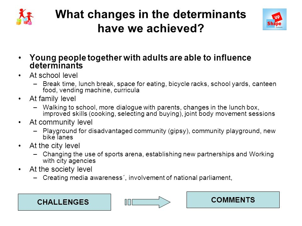 What changes in the determinants have we achieved? Young people together with adults are able to influence determinants At school level –Break time, l
