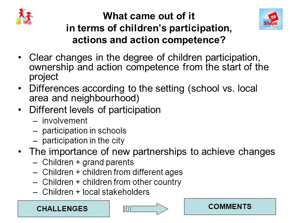 What came out of it in terms of childrens participation, actions and action competence? Clear changes in the degree of children participation, ownersh