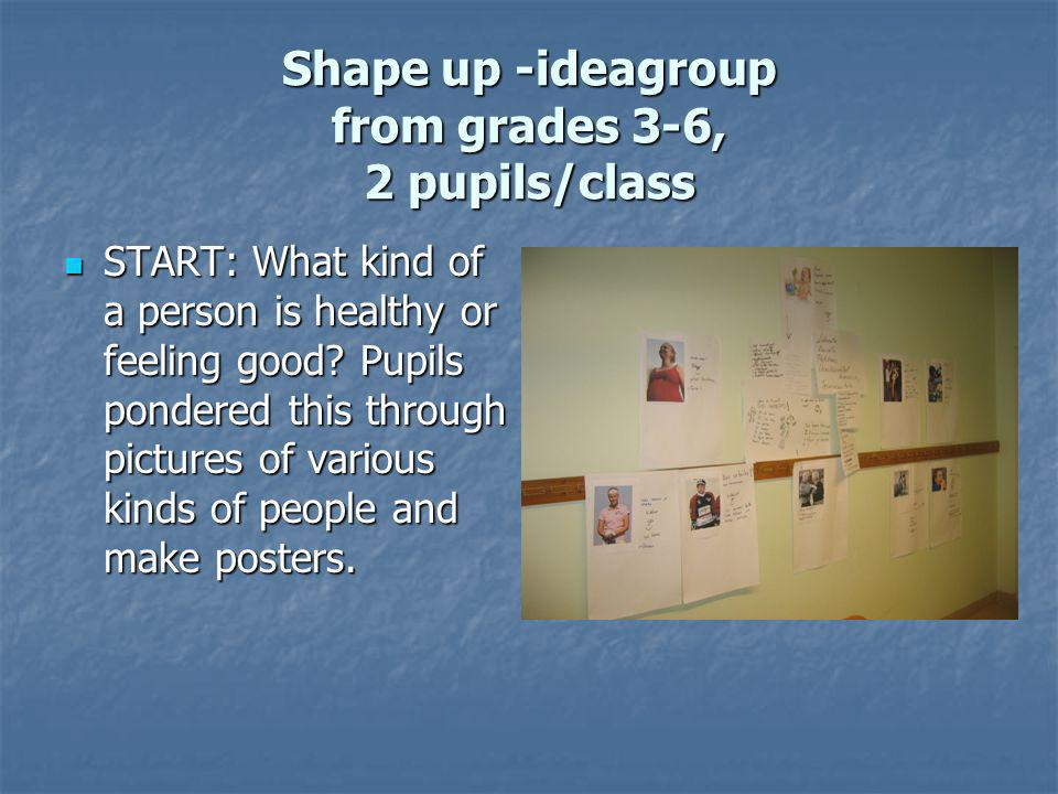 Shape up -ideagroup from grades 3-6, 2 pupils/class START: What kind of a person is healthy or feeling good.