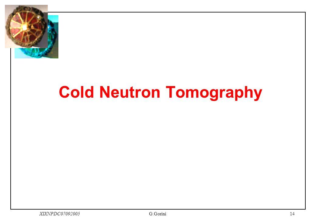 14XIXNPDC07092005G.Gorini Cold Neutron Tomography