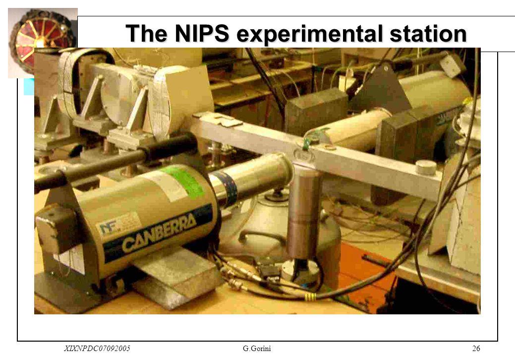 26XIXNPDC07092005G.Gorini The NIPS experimental station