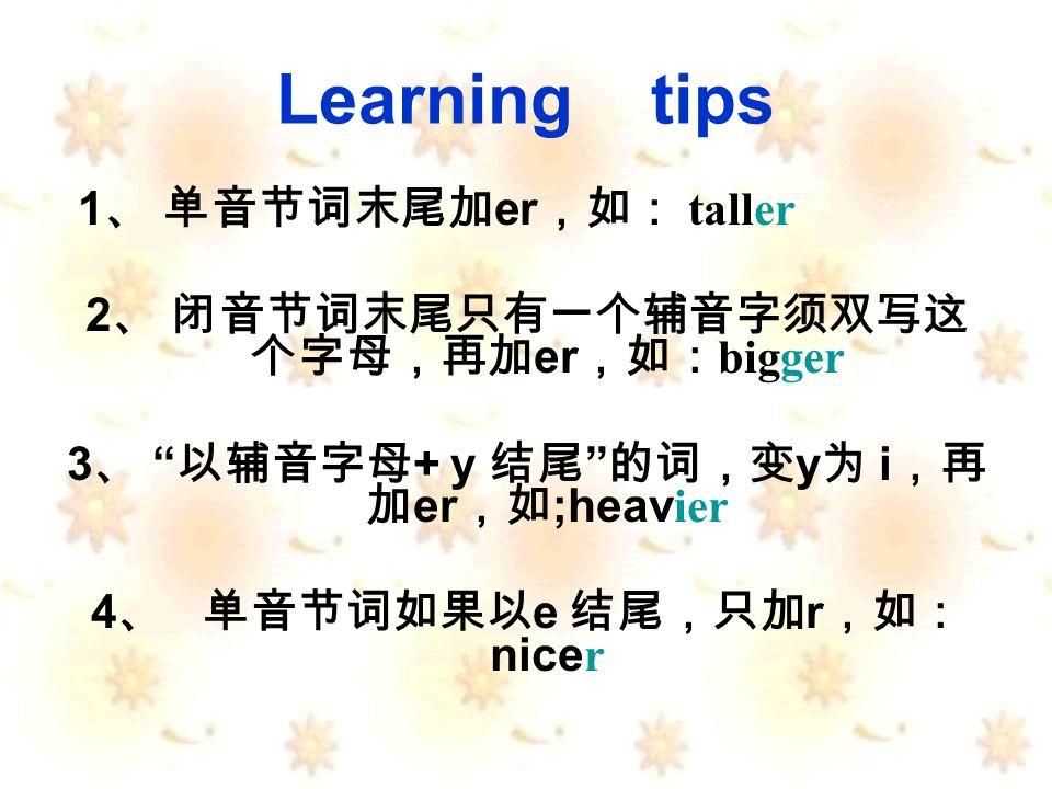 Learning tips 1 er taller 2 er bigger 3 + y y i er ;heav ier 4 e r nice r