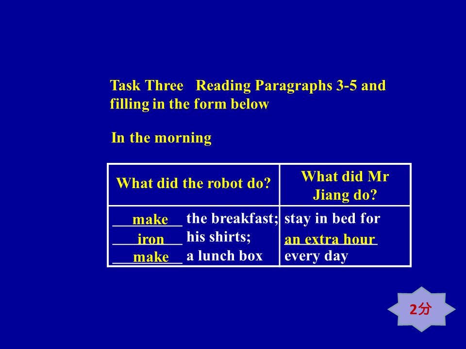 Task Three Reading Paragraphs 3-5 and filling in the form below What did the robot do? What did Mr Jiang do? _________ the breakfast; _________ his sh