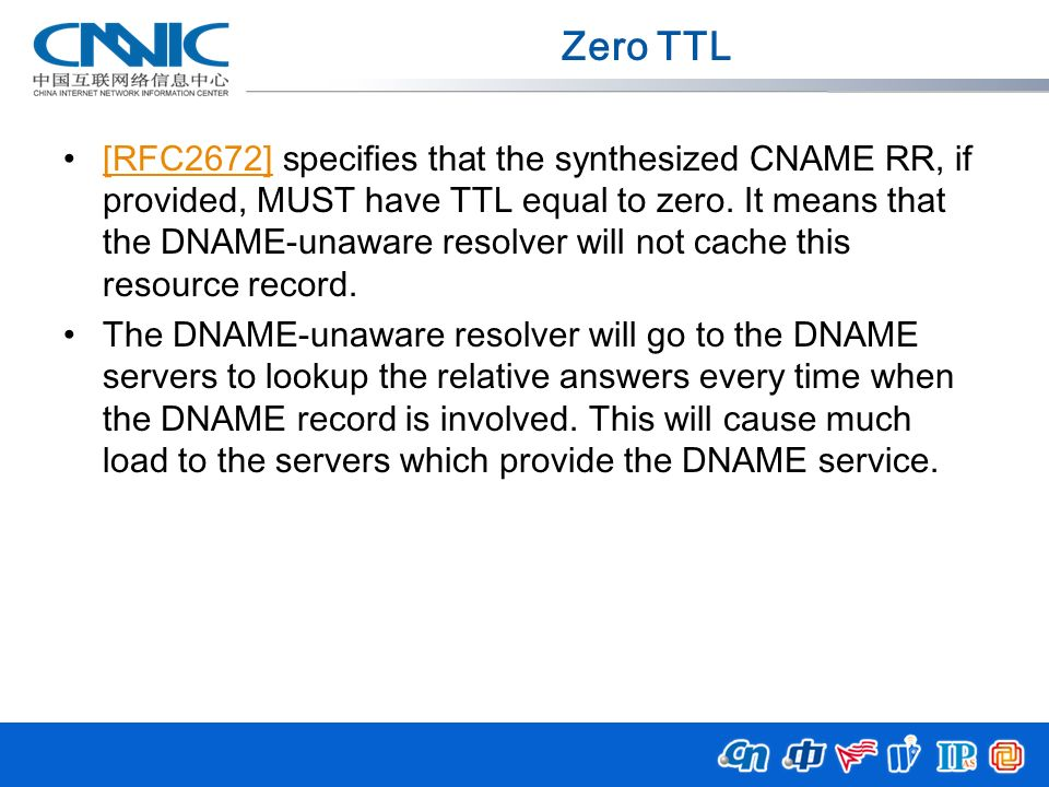 Zero TTL [RFC2672] specifies that the synthesized CNAME RR, if provided, MUST have TTL equal to zero. It means that the DNAME-unaware resolver will no