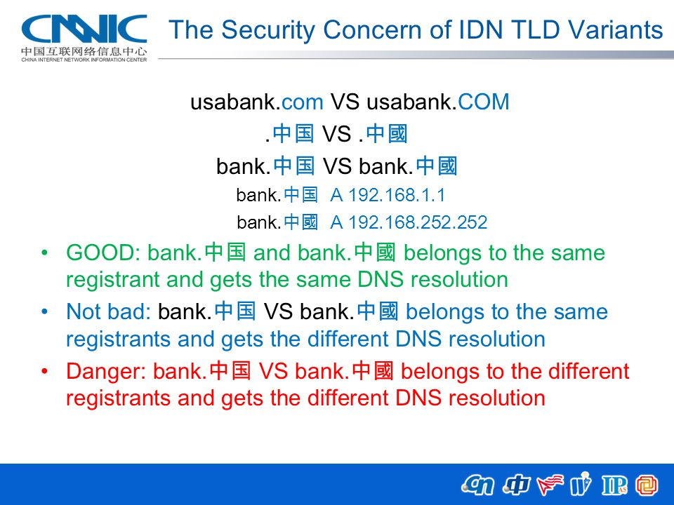 The Security Concern of IDN TLD Variants usabank.com VS usabank.COM. VS. bank. VS bank. bank. A 192.168.1.1 bank. A 192.168.252.252 GOOD: bank. and ba