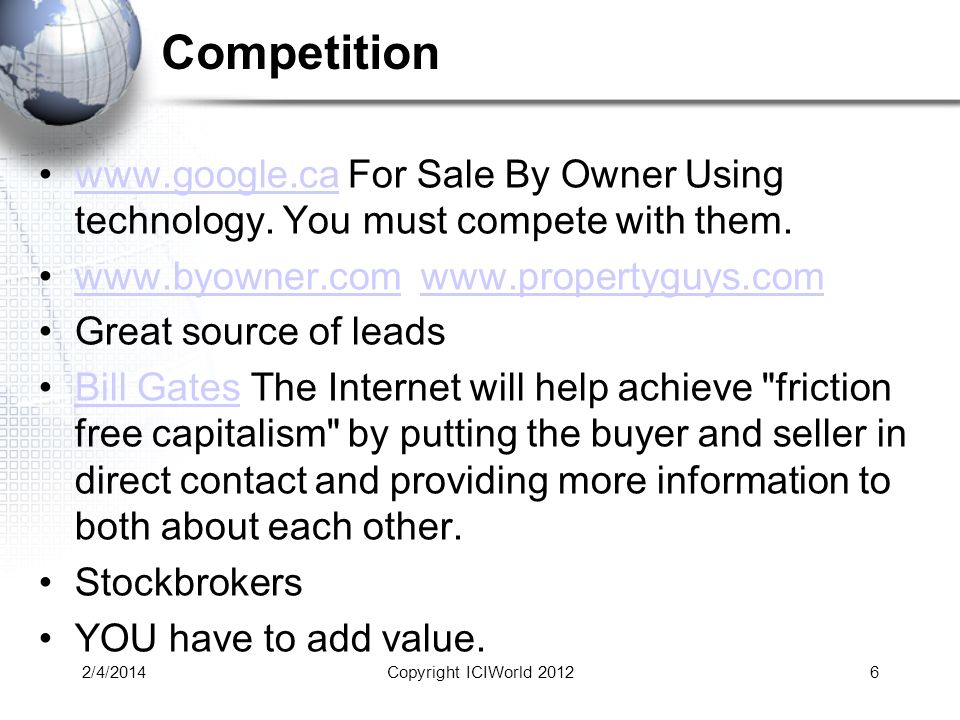 Competition www.google.ca For Sale By Owner Using technology.