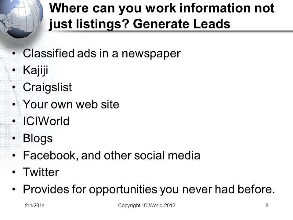 Where can you work information not just listings.