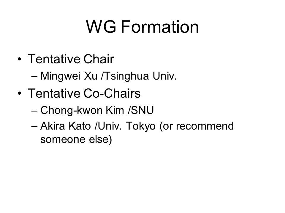 WG Formation Tentative Chair –Mingwei Xu /Tsinghua Univ. Tentative Co-Chairs –Chong-kwon Kim /SNU –Akira Kato /Univ. Tokyo (or recommend someone else)