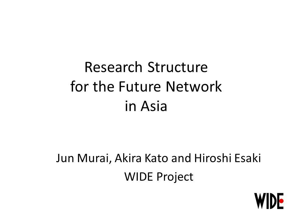 Research Structure for the Future Network in Asia Jun Murai, Akira Kato and Hiroshi Esaki WIDE Project