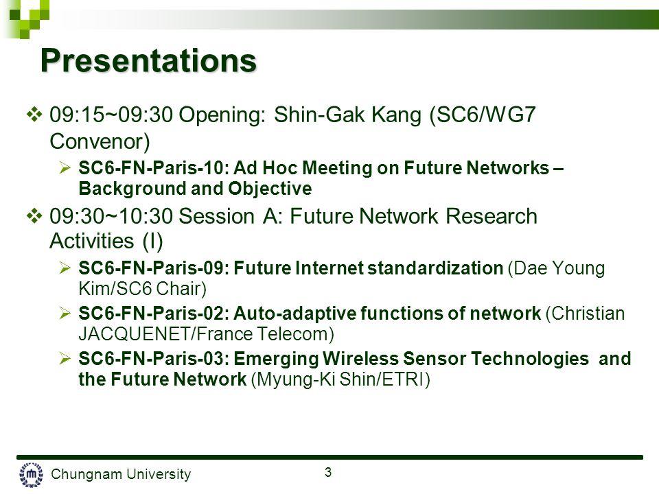Chungnam University 3 Presentations 09:15~09:30 Opening: Shin-Gak Kang (SC6/WG7 Convenor) SC6-FN-Paris-10: Ad Hoc Meeting on Future Networks – Backgro