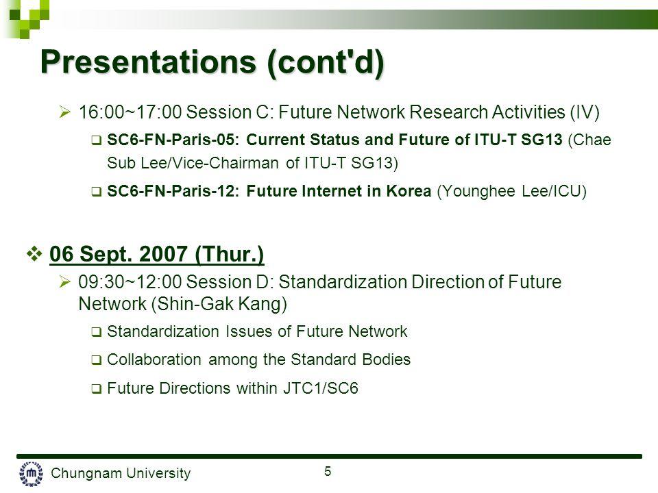 Chungnam University 5 Presentations (cont'd) 16:00~17:00 Session C: Future Network Research Activities (IV) SC6-FN-Paris-05: Current Status and Future