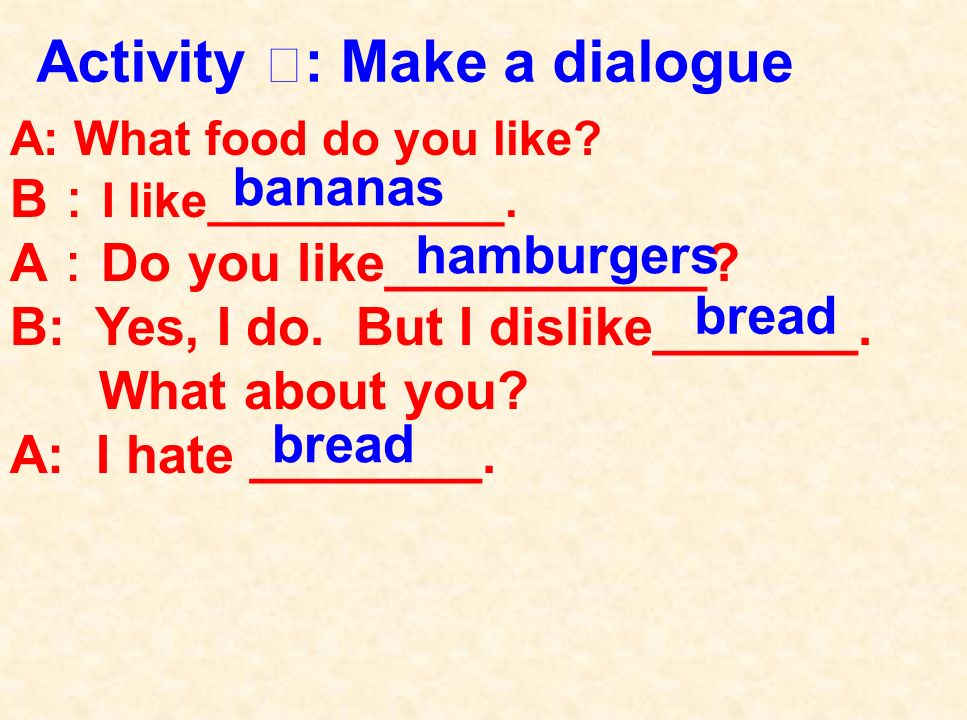 What food does Millie and Daniel like/dislike. Millie likes _______, ________ and _______.