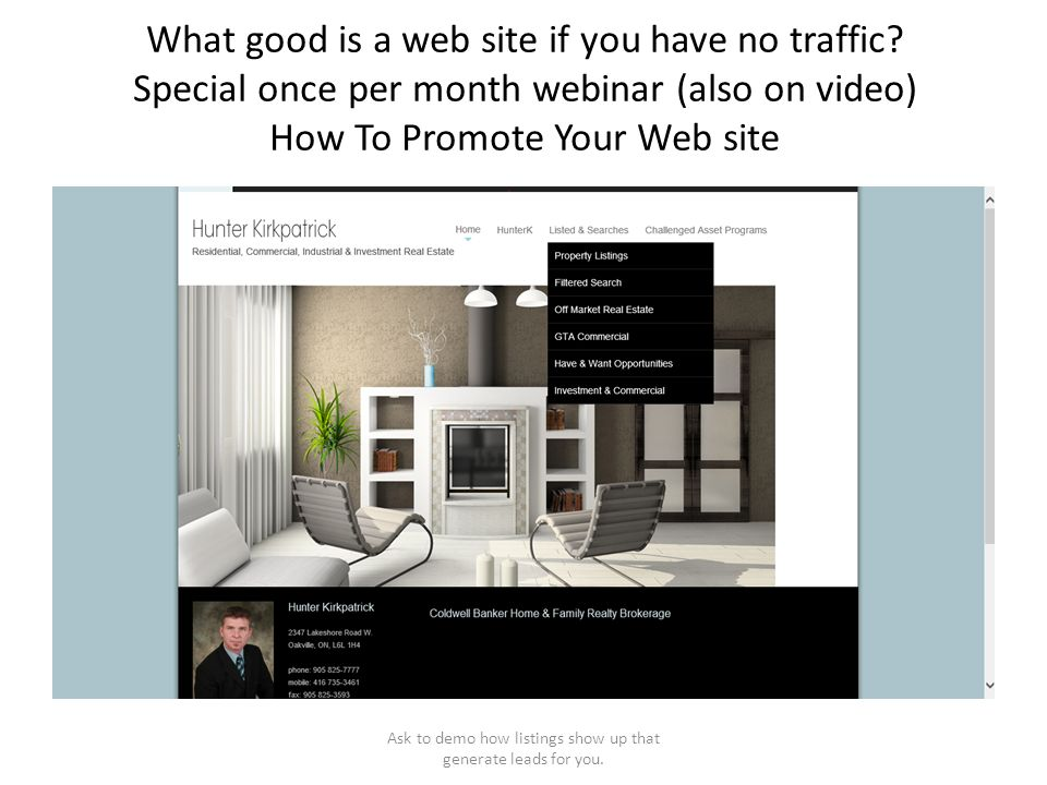 What good is a web site if you have no traffic? Special once per month webinar (also on video) How To Promote Your Web site