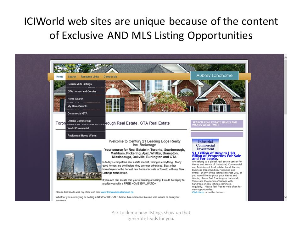 ICIWorld web sites are unique because of the content of Exclusive AND MLS Listing Opportunities Ask to demo how listings show up that generate leads f