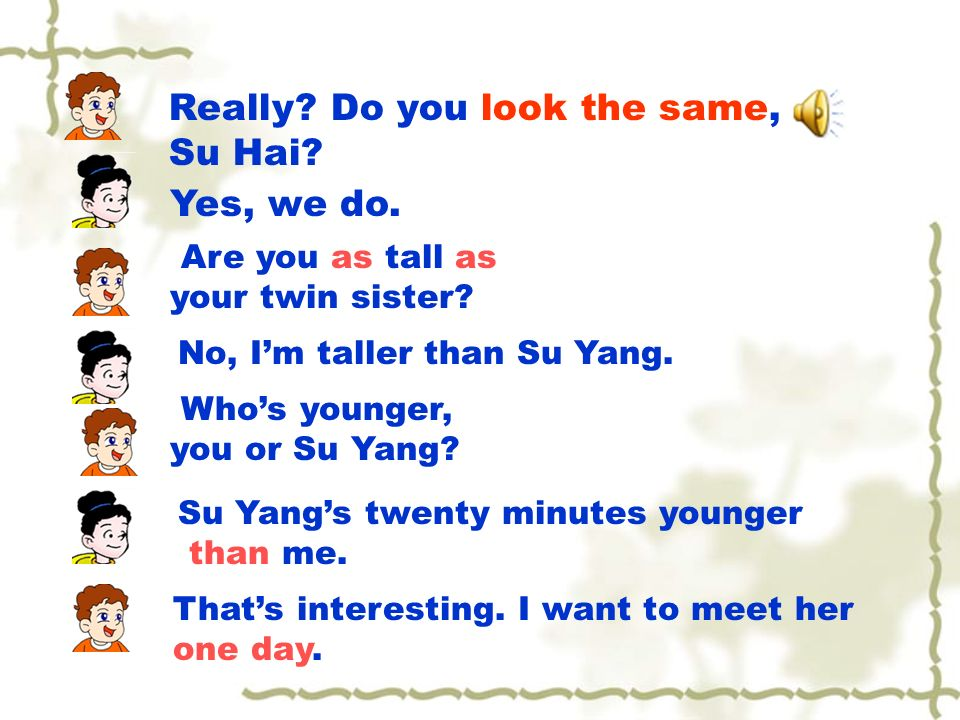 Are you as tall as your twin sister. No, Im taller than Su Yang.