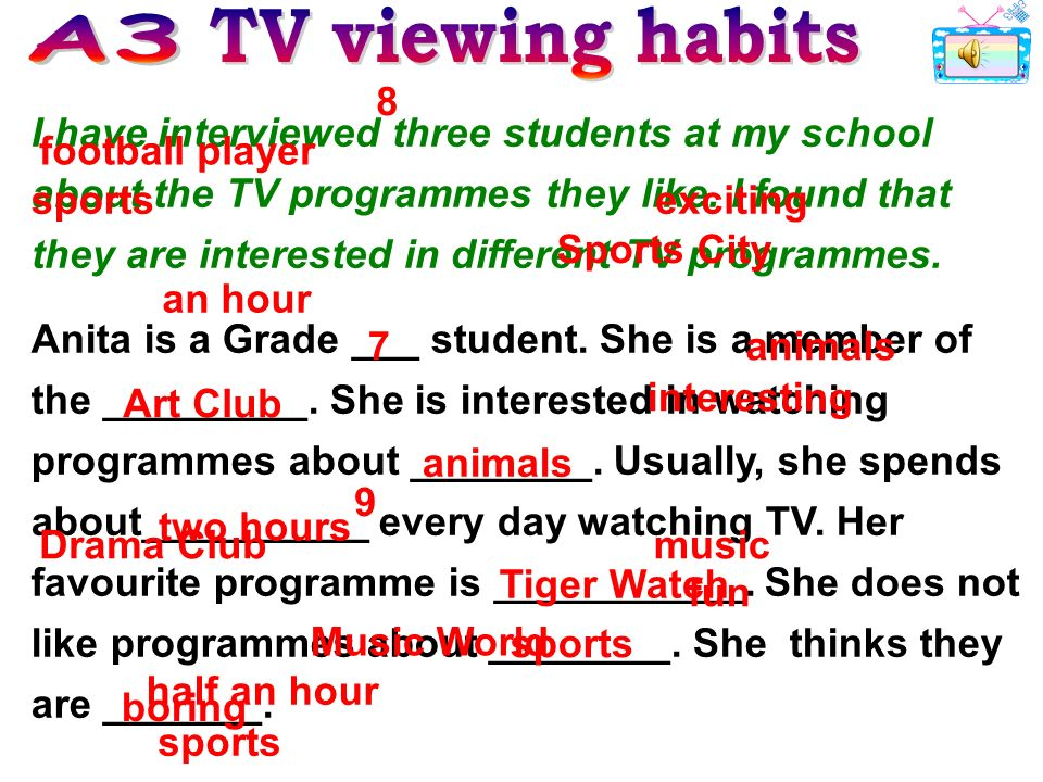 I have interviewed three students at my school about the TV programmes they like. I found that they are interested in different TV programmes. Anita i