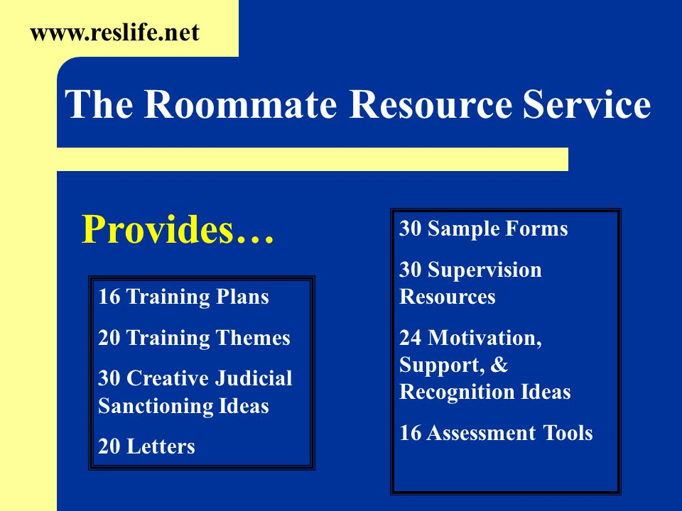 16 Training Plans 20 Training Themes 30 Creative Judicial Sanctioning Ideas 20 Letters www.reslife.net The Roommate Resource Service 30 Sample Forms 3