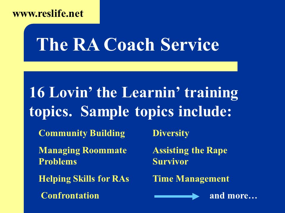 16 Lovin the Learnin training topics. Sample topics include: www.reslife.net The RA Coach Service Community Building Managing Roommate Problems Helpin