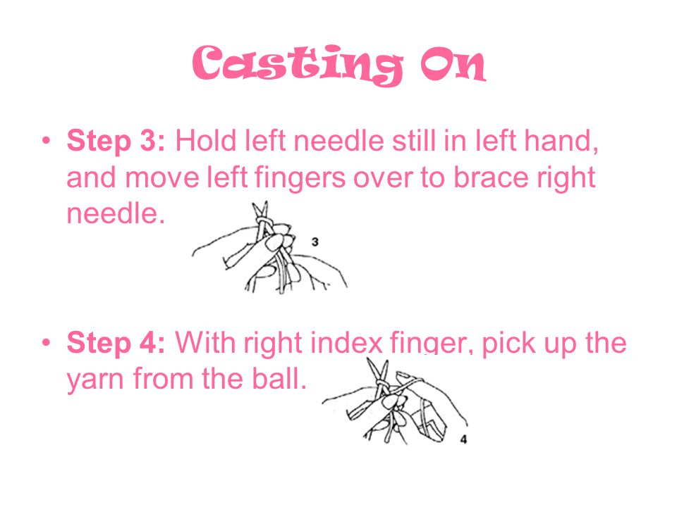 Casting On Step 3: Hold left needle still in left hand, and move left fingers over to brace right needle.