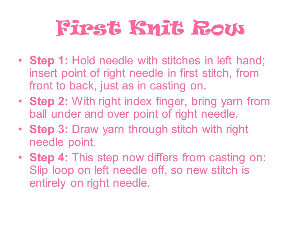 First Knit Row Step 1: Hold needle with stitches in left hand; insert point of right needle in first stitch, from front to back, just as in casting on.