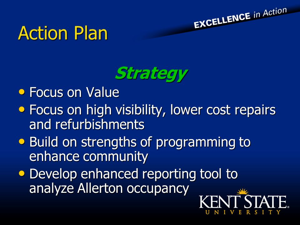 Action Plan Strategy Focus on Value Focus on Value Focus on high visibility, lower cost repairs and refurbishments Focus on high visibility, lower cost repairs and refurbishments Build on strengths of programming to enhance community Build on strengths of programming to enhance community Develop enhanced reporting tool to analyze Allerton occupancy Develop enhanced reporting tool to analyze Allerton occupancy