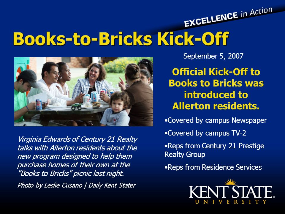 Books-to-Bricks Kick-Off Virginia Edwards of Century 21 Realty talks with Allerton residents about the new program designed to help them purchase homes of their own at the Books to Bricks picnic last night.