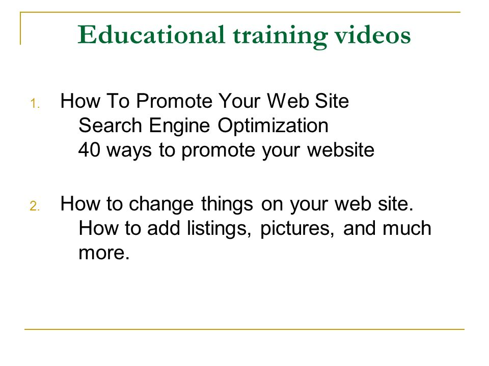 Educational training videos 1.