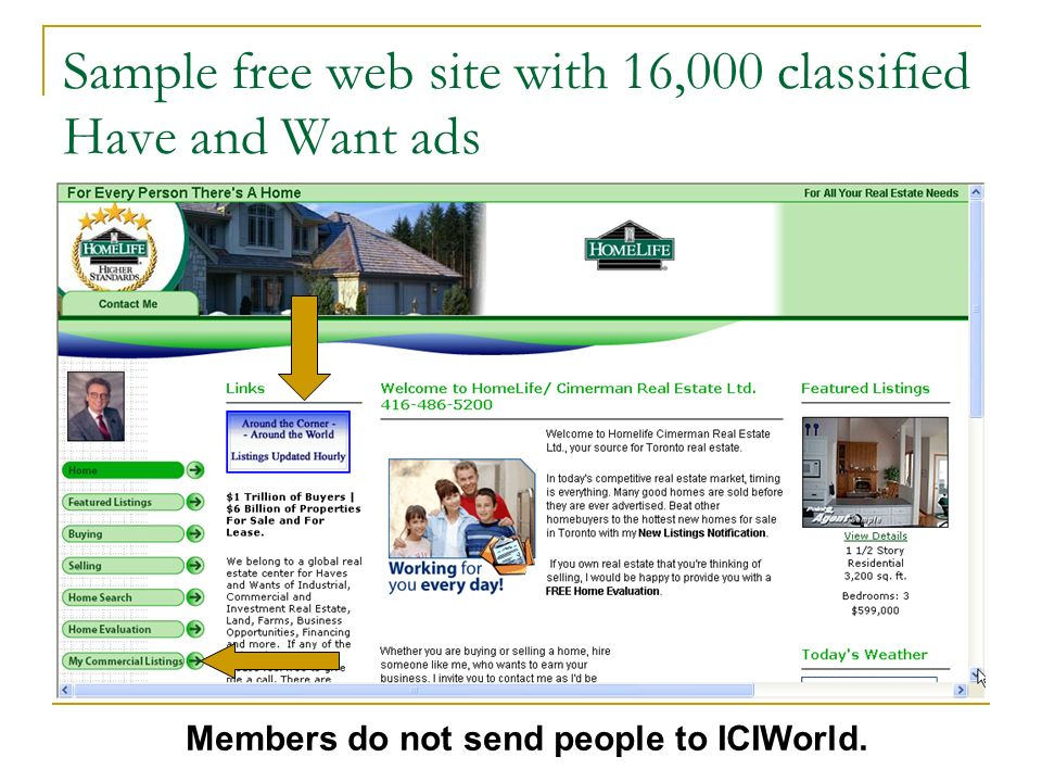 Sample free web site with 16,000 classified Have and Want ads Members do not send people to ICIWorld.