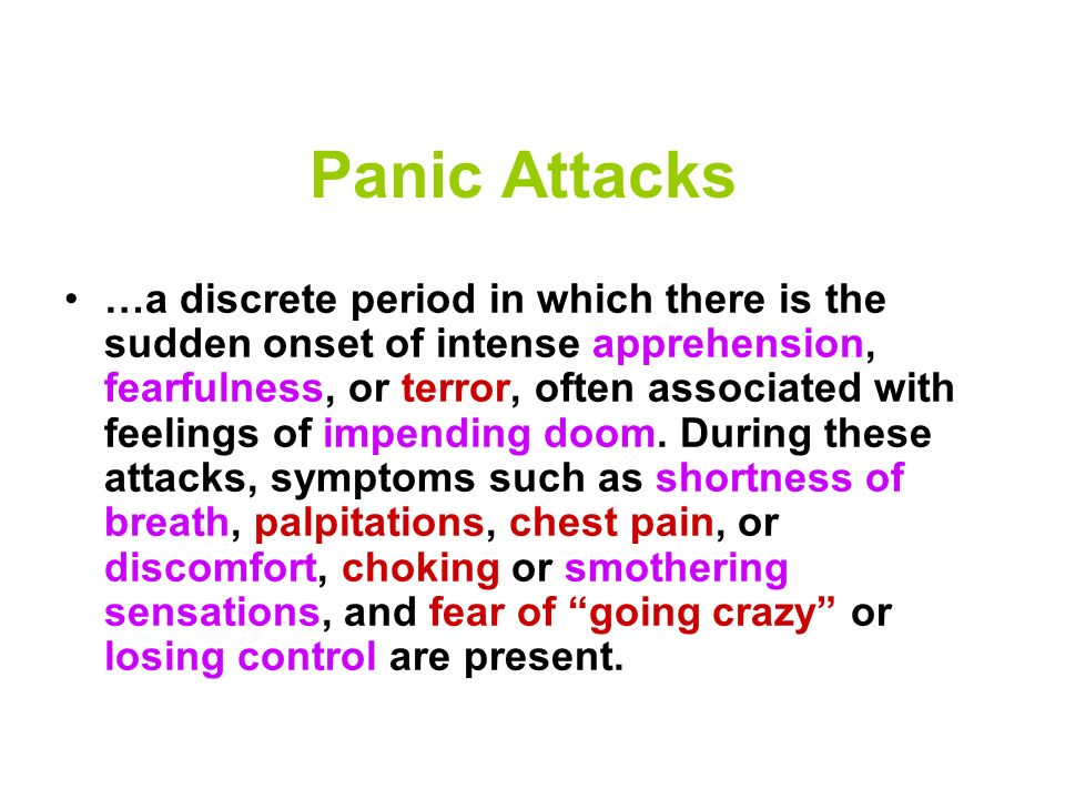 Anxiety Disorders Generalized Anxiety Disorder Obsessive-Compulsive Disorder (OCD) Panic Disorder Post-Traumatic Stress Disorder (PTSD) Social Phobia (or Social Anxiety Disorder) Women are five times as likely to have anxiety disorders.