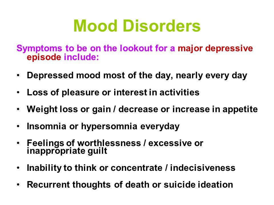 Mood Disorders Major Depressive Disorder Bipolar Disorder (Manic Depression) Cyclothymic Disorder Dysthymic Disorder