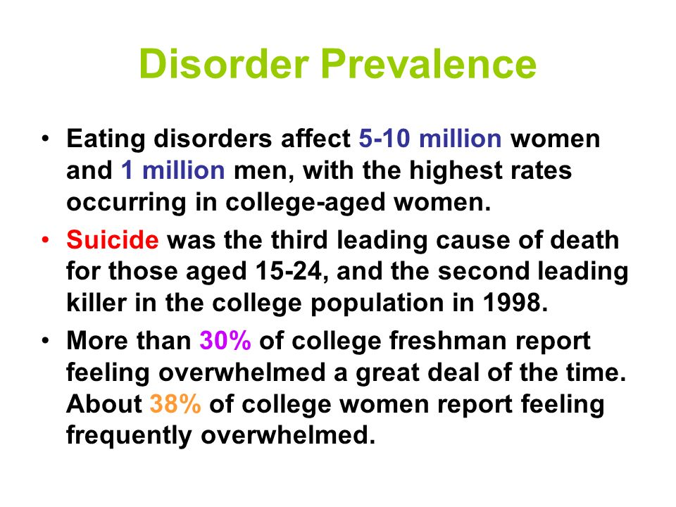 Mental Health Disorders Anxiety Disorders Mood Disorders Personality Disorders Learning Disorders Eating Disorders …health conditions that are characterized by alterations in thinking, mood, or behavior associated with distress and/or impaired functioning.