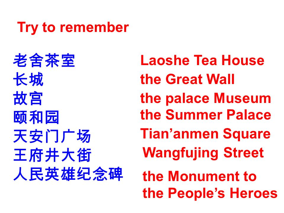 Try to remember Laoshe Tea House the Great Wall the palace Museum the Summer Palace Tiananmen Square Wangfujing Street the Monument to the Peoples Her