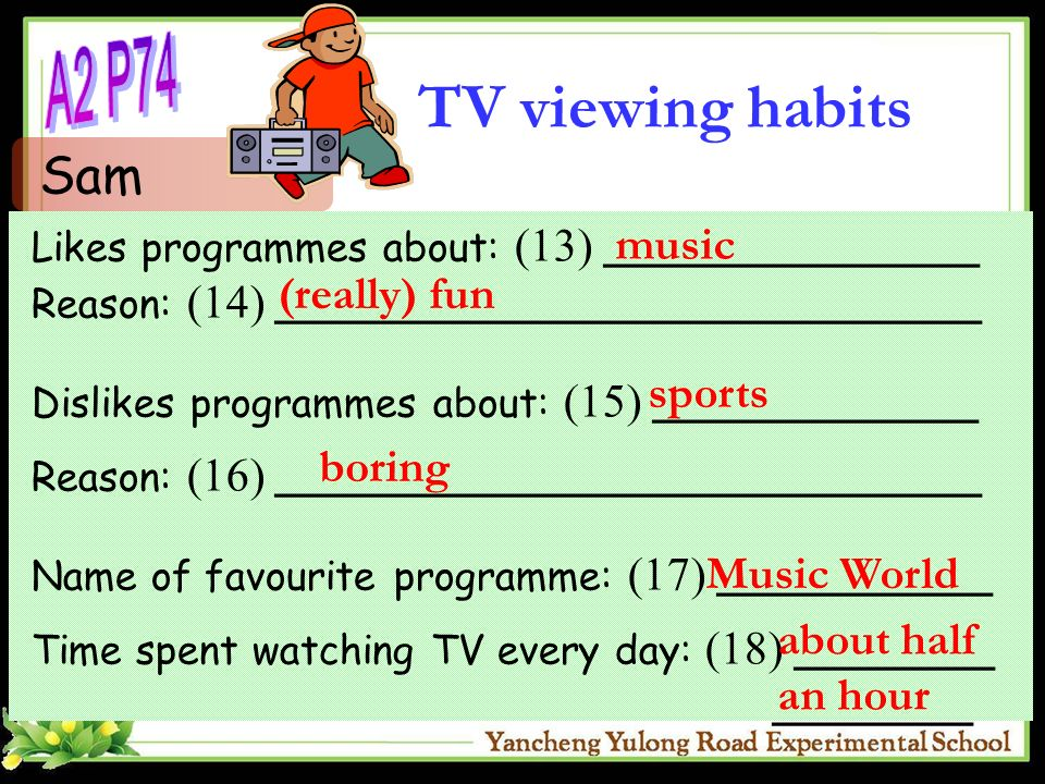 Likes programmes about: (13) _______________ Reason: (14) ____________________________ Dislikes programmes about: (15) _____________ Reason: (16) ____________________________ Name of favourite programme: (17) ___________ Time spent watching TV every day: (18) ________ ________ Sam music (really) fun sports boring Music World about half an hour TV viewing habits