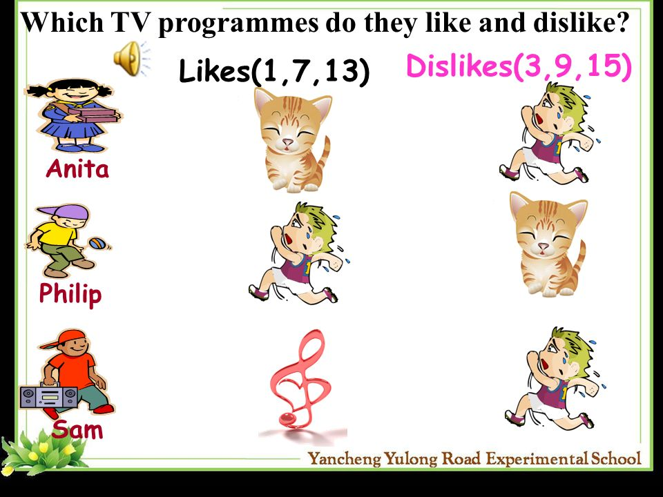 AnitaPhilip Sam Likes(1,7,13) Dislikes(3,9,15) Which TV programmes do they like and dislike?