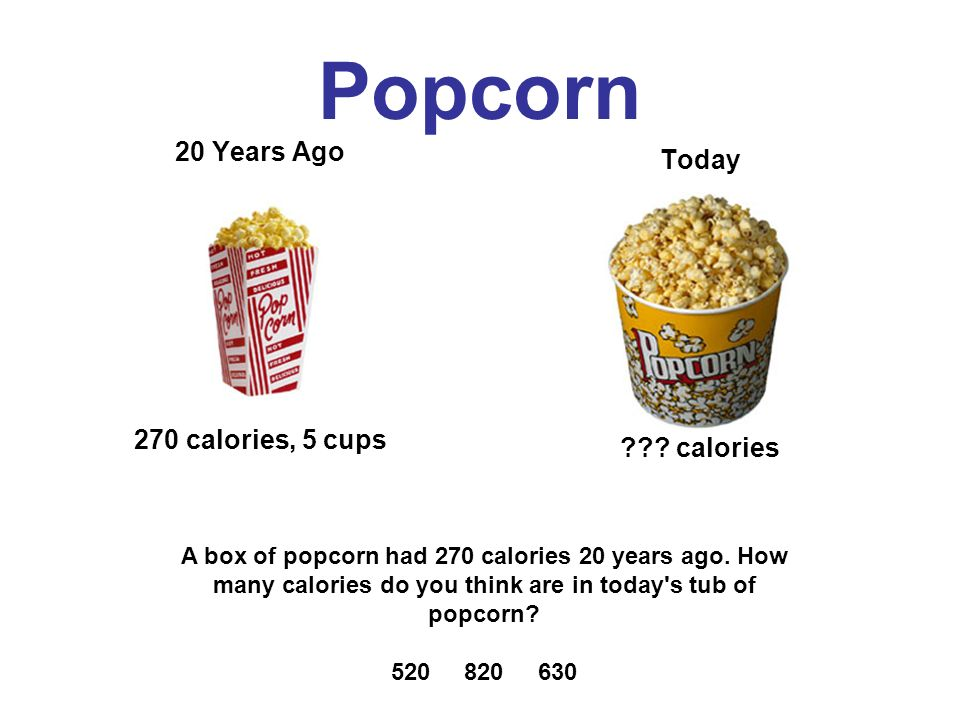Popcorn 20 Years Ago 270 calories, 5 cups Today .