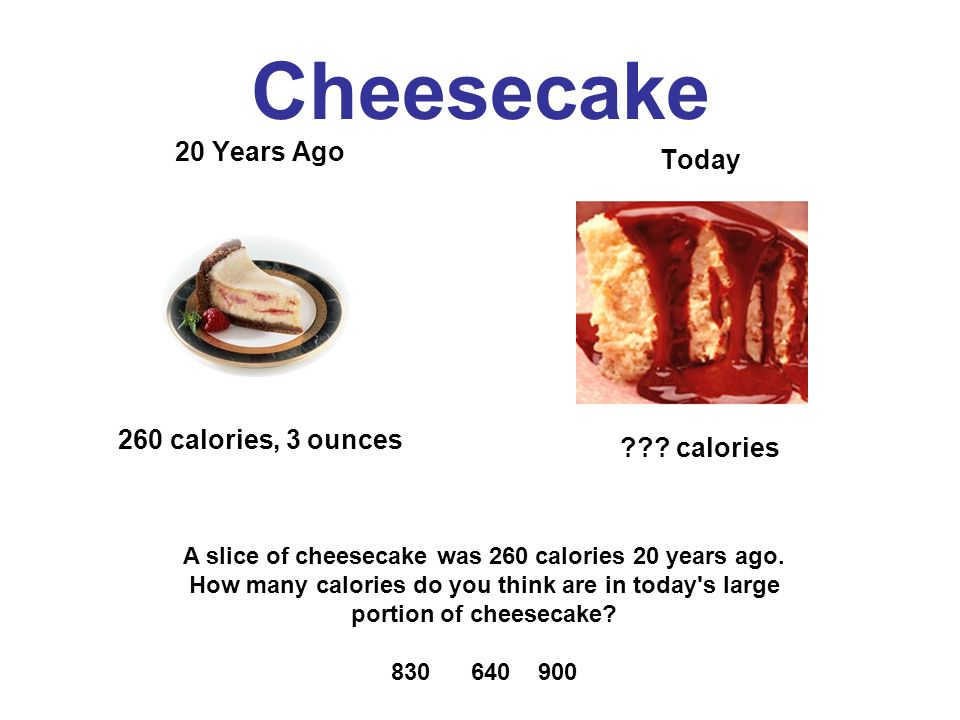 Cheesecake 20 Years Ago 260 calories, 3 ounces Today .