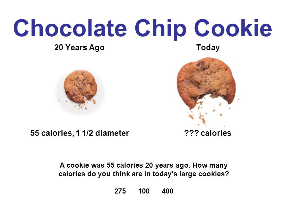 Chocolate Chip Cookie 20 Years Ago 55 calories, 1 1/2 diameter Today .