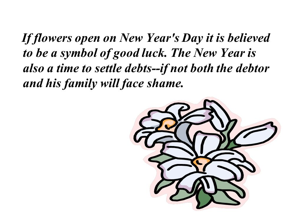 If flowers open on New Year s Day it is believed to be a symbol of good luck.