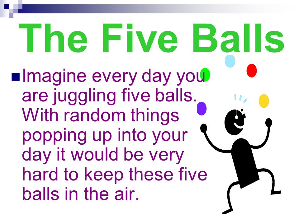 The Five Balls Imagine every day you are juggling five balls. With random things popping up into your day it would be very hard to keep these five bal