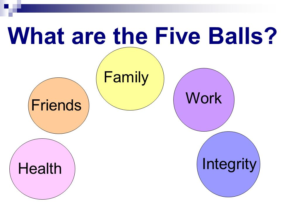 What are the Five Balls? Health Integrity Work Family Friends