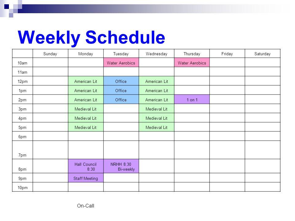 Weekly Schedule SundayMondayTuesdayWednesdayThursdayFridaySaturday 10am Water Aerobics 11am 12pm American LitOfficeAmerican Lit 1pm American LitOffice